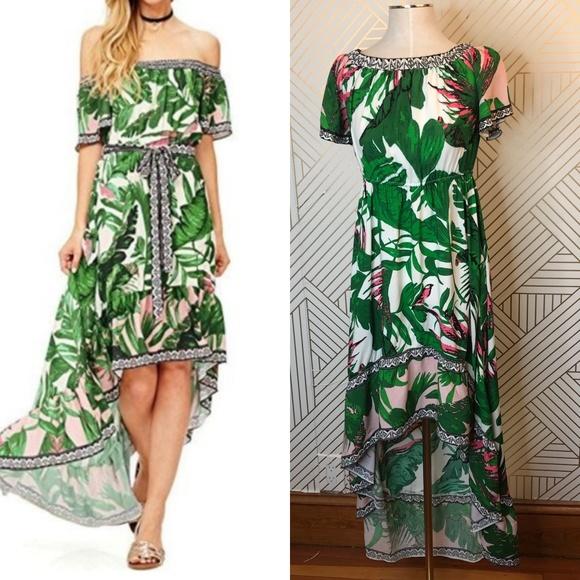 0c763af999b Flying Tomato Dresses   Skirts - Flying Tomato Palm Leaf Print High-Low  Maxi Dress